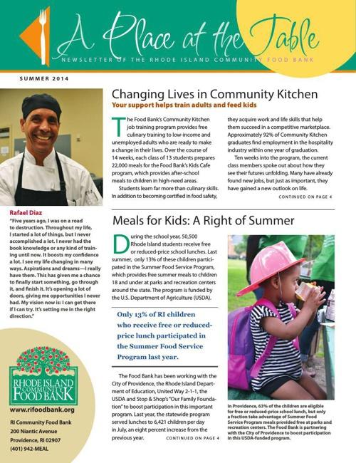 Food Bank's Summer 2014 Newsletter