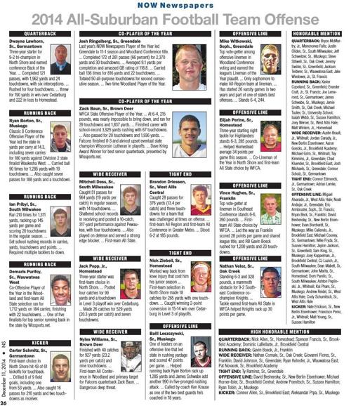 2014 All-Suburban Football Team