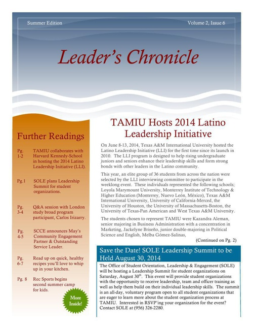 Copy of Leader's Chronicle (V 2, I 6) Summer Edition