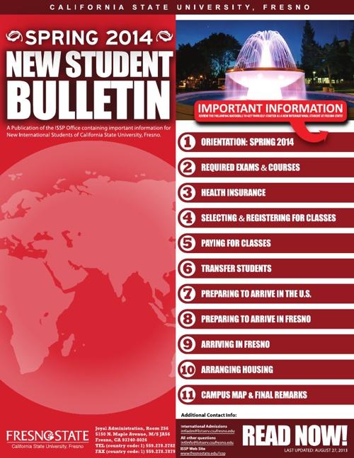 NEW STUDENT BULLETIN (SPRING 2014)