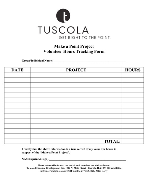 Make a Point Project - Volunteer Hours Tracking Form