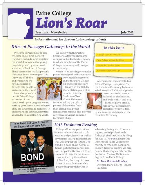 Lion's Roar 2013: Incoming Freshman Newsletter