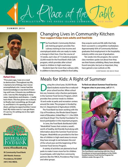 Food Bank Summer 2014 News