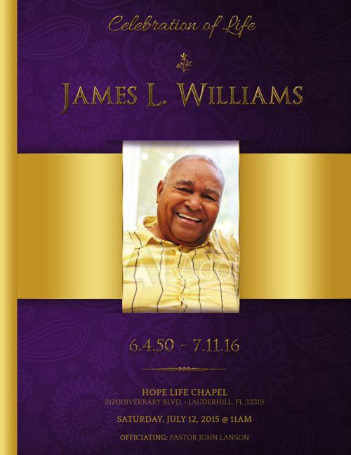 Regal Funeral Program Template Large