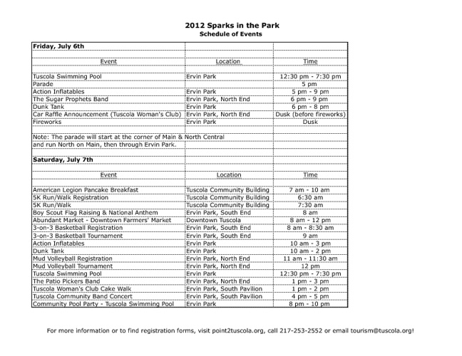2012 Schedule of Events