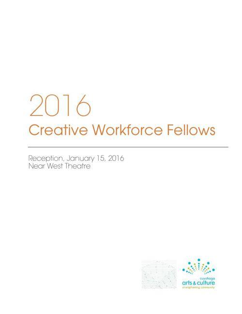 2016 Creative Workforce Fellows. Announcement