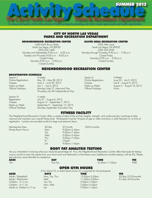 CNLV Parks & Recreation Summer Schedule 2013