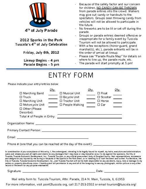 2012 Sparks Parade Entry Form & Map