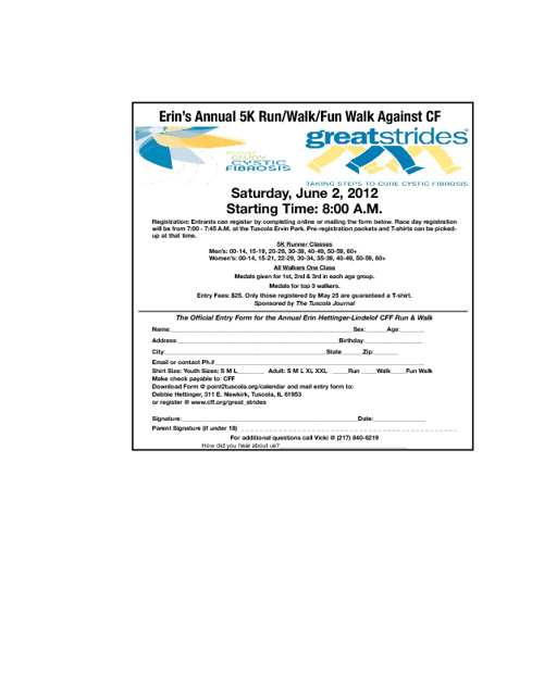 Erin's Annual 5K Run/Walk/Fun Walk Against CF Registration Form