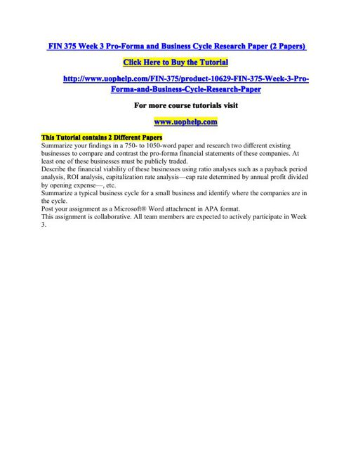 Pro forma and business cycle research paper essay